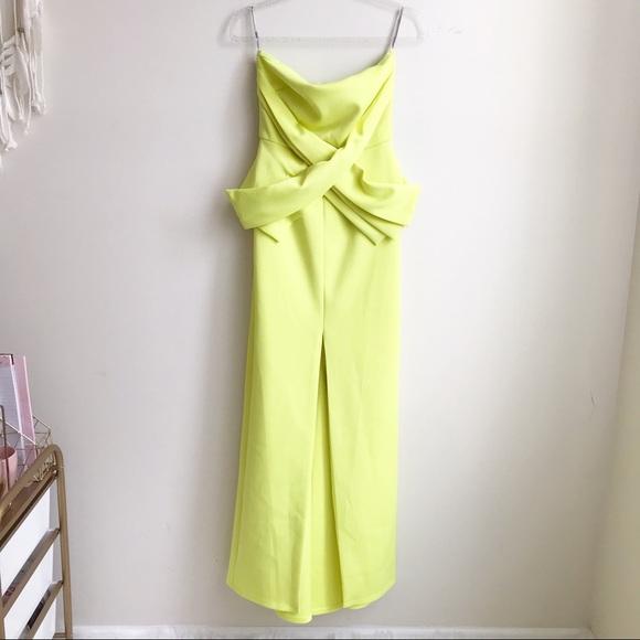 ASOS Cross Front Peplum Maxi Dress - Lime